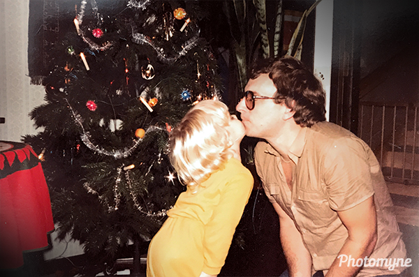The seventies. My big brother gives my father a kiss. Sweden 1981