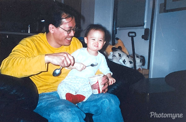 Dad it's you and me and coffee ice cream. Best day ever. USA 2001