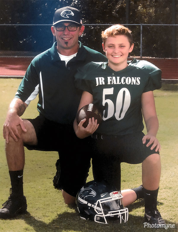 Son and Dad football pic. USA 2019