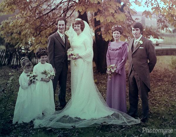 Elizabeth and David - wedding day. UK 1972