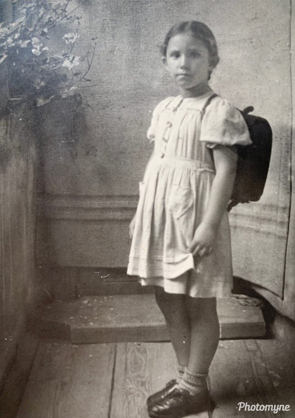 Edith's first day of school (Edith's erster schultag). Germany 1944