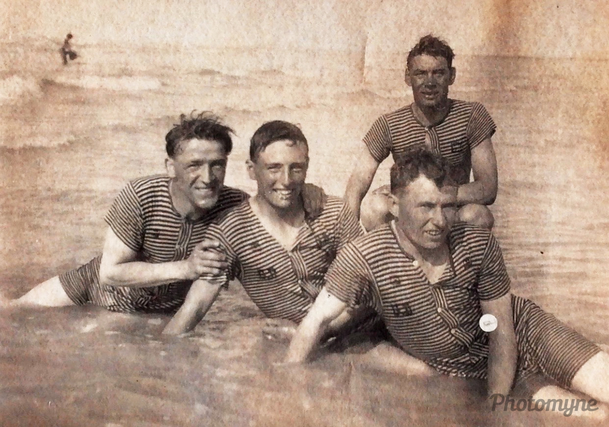 My paternal grandfather Tom Simpson, 1899-1955, with a group of swimmers. He is at the back of the group. Sunderland, UK 1923