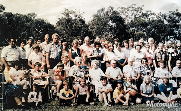 Rathbone Family Gathering in Nathalia Victoria. Australia 1981