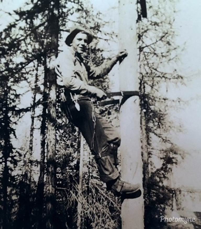 Dad working for the Civilian Conservation Corps (CCC's), Thompson Falls, Montana, US, 1930