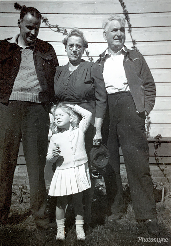 Home from Oz and love the sun today. With my grandparents and Uncle on a warm day after coolness of Canadian winter after living 18 months in Australia. Canada 1948