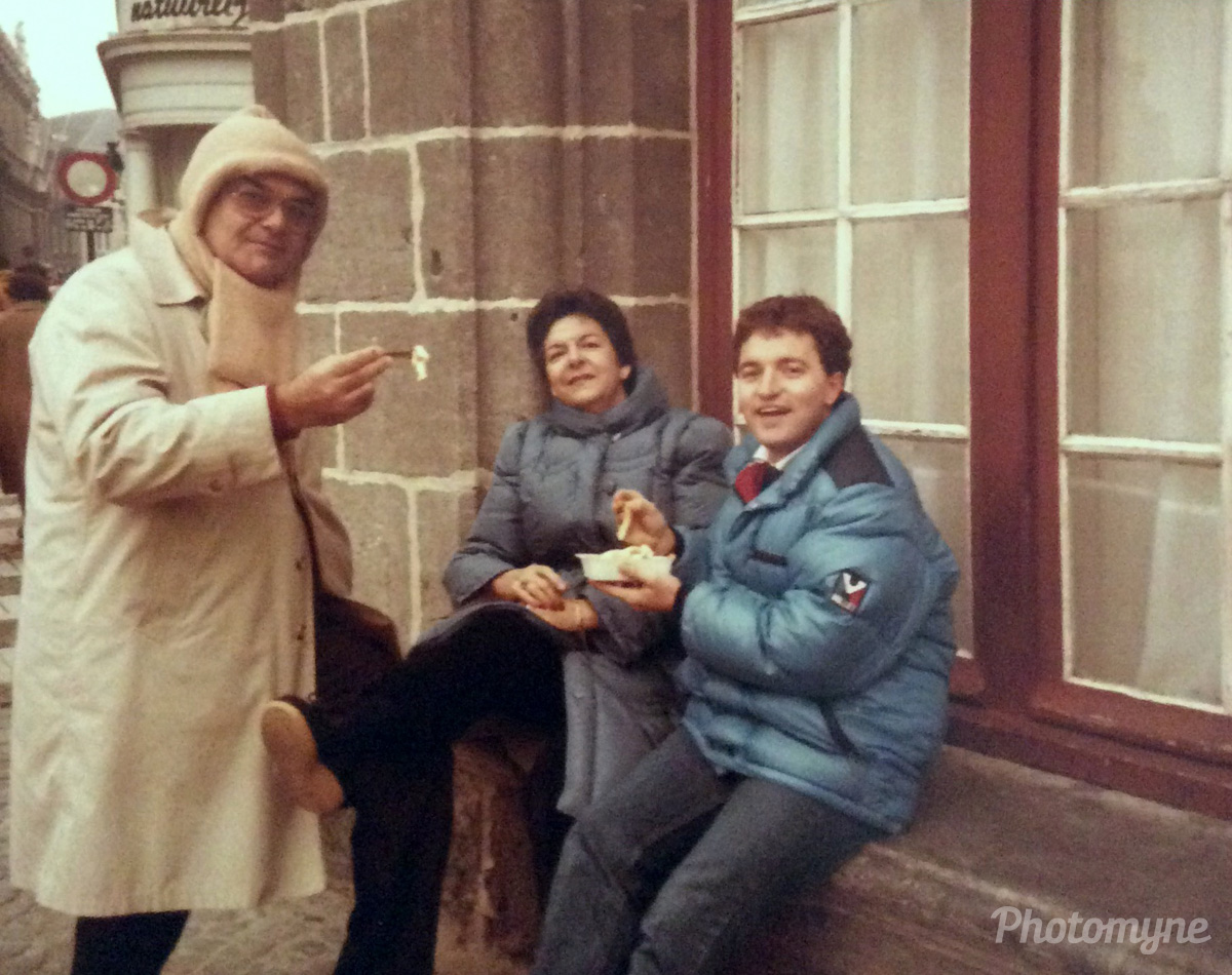 First time We try French fries and mayonnaise. Visiting The Indekeus, Brussels, Belgium, 1985