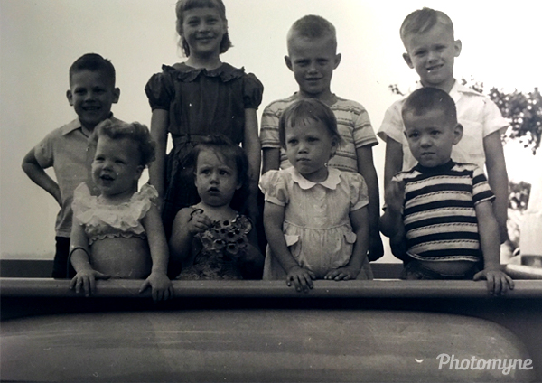 Cousins in the pickup. Florida, USA 1955