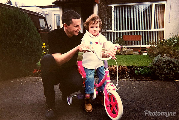 Me at 5 years old, with my new bike and dad. UK (year unknown)