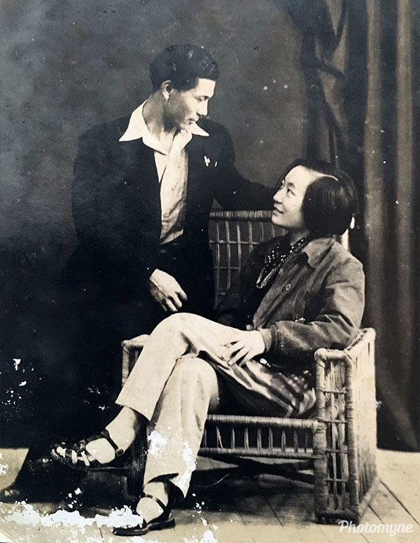 Mama Chin and Papa Chin newlyweds. China 1938
