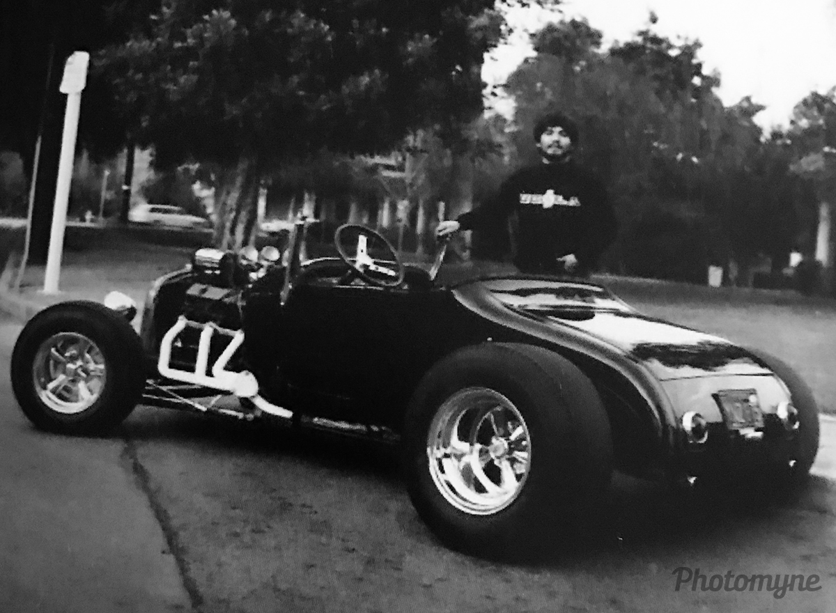 My wheels while I attended UCLA, with my 1927 Ford T Roadster in front of San Fernando Mission. And yes, I still have it! California, USA 1969