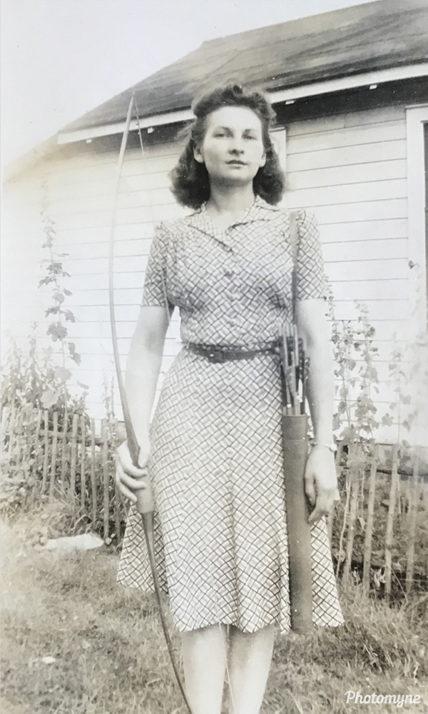My awesome Grandmother with quiver and bow. MI, USA 1942