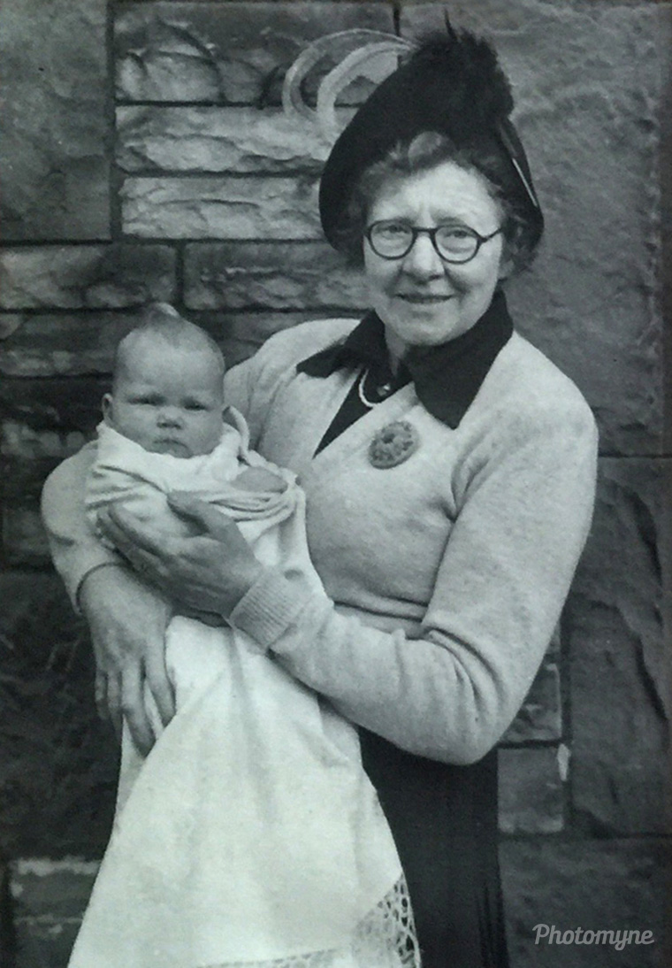 Gladys Green with granddaughter Anne Victoria, United Kingdom, 1951