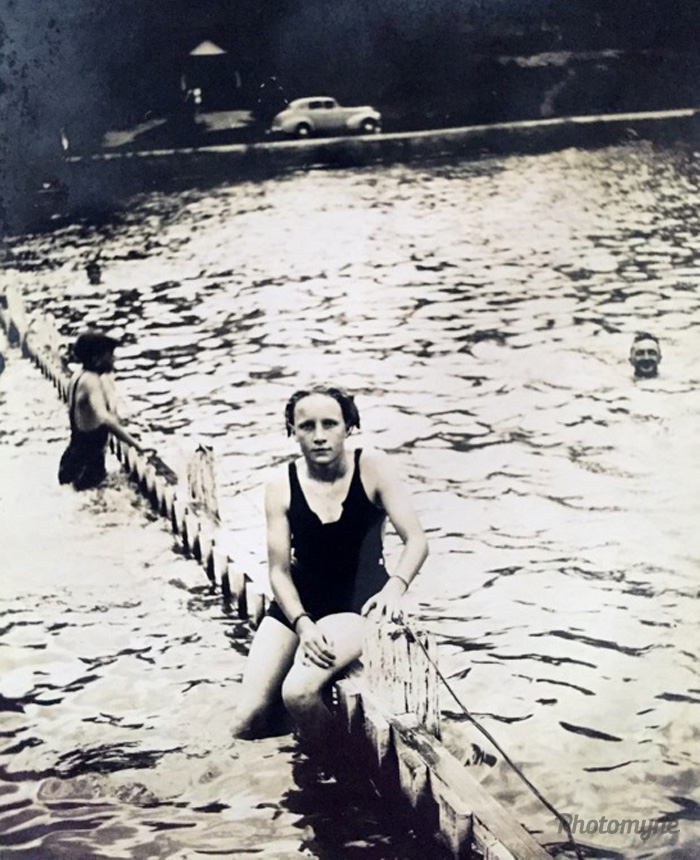 My Mum enjoying swimming lessons at Lawson Pool. Love that the person in the background is smiling at the camera (photobombing, during the late 1930's 👌🏼), Lawson, New South Wales, Australia, 1939