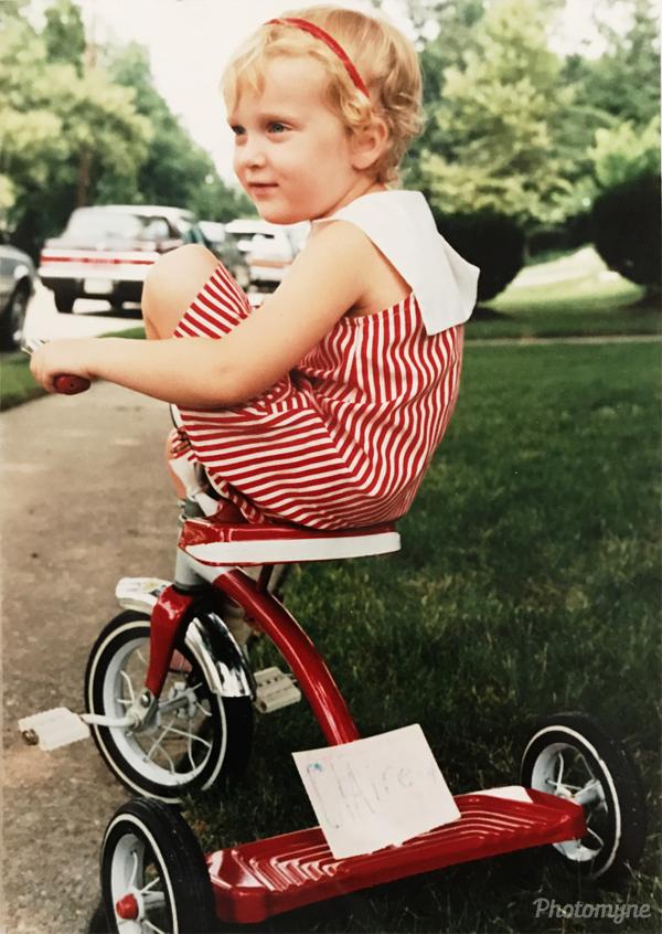 Take on bike in stripes. USA 1989