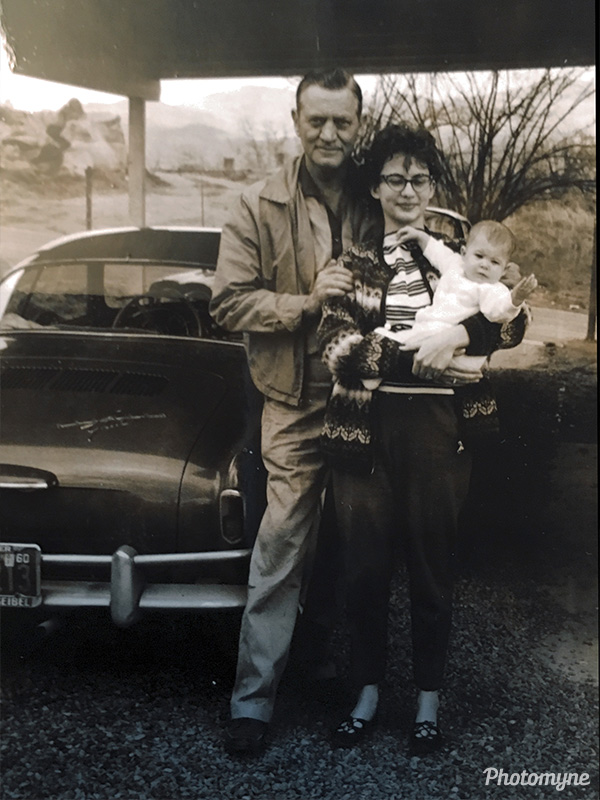 Grandpa and mom holding me - the infant. USA 1960