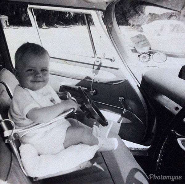 My son Paul at 10 months. Note the car seats in those days... South Africa 1968