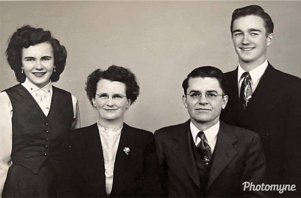 My grandfather was a Lutheran minister in a small farming town in Southwest Illinois when this photo was taken of his family: daughter Delores, wife Ruth, Waldemar, and Herb (who would later become my dad). USA 1947