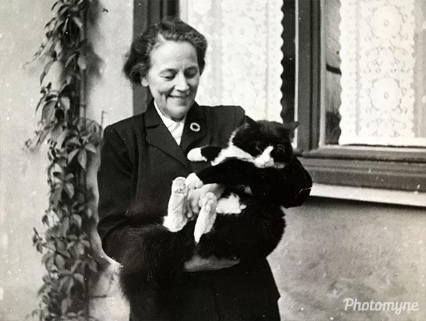 Aunt Maja with her beloved cat. Sweden 1958