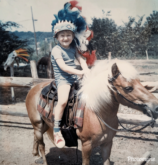 Pigeon Forge Shopping Complex, on a pony named Champ. USA 1975