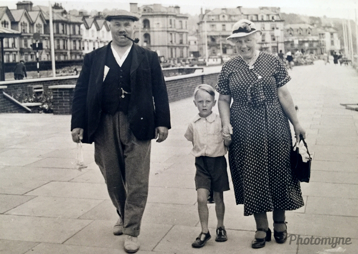 My dad John Rogers with his grandparents. Brighton, UK. 1938
