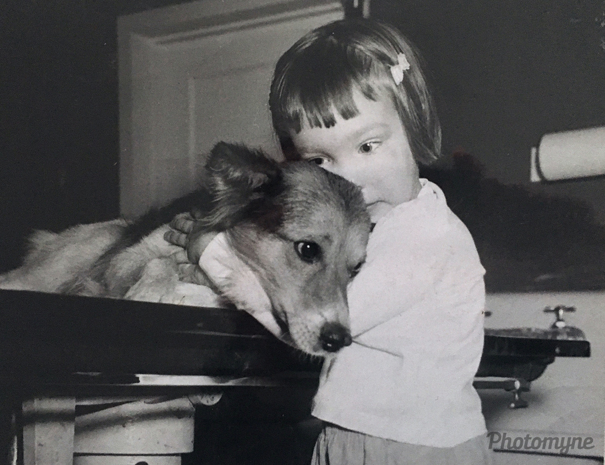 Shelley comforts a dog in her father's veterinary office. Pennsylvania, USA 1956