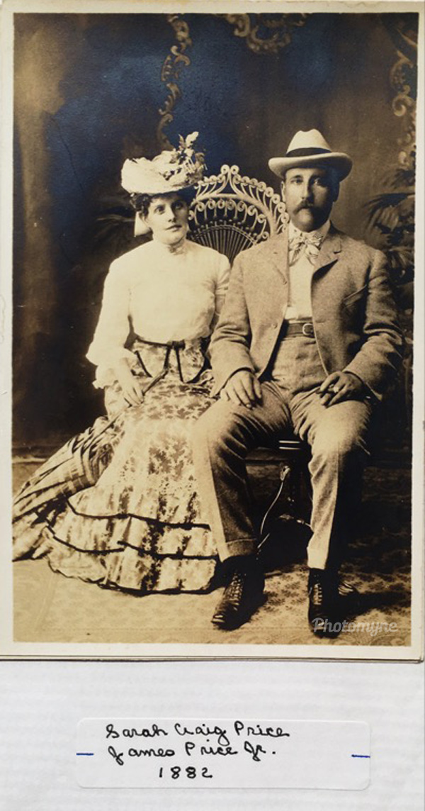 Great great great grand father JamesPrice with his wife Sarah, 1882, Kansas City, Missouri