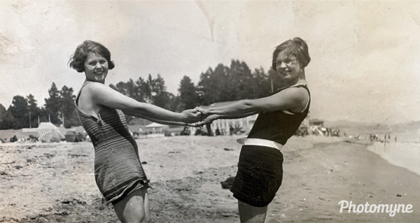 Cecile and Mae Ellison at the beach. USA (date unknown)