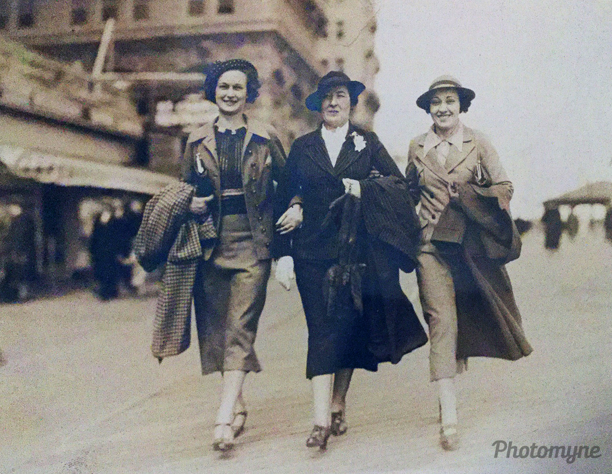 Unknown, Katy Byar Adams, Virginia Fields Adams. Atlantic City Boardwalk, NJ, USA 1930