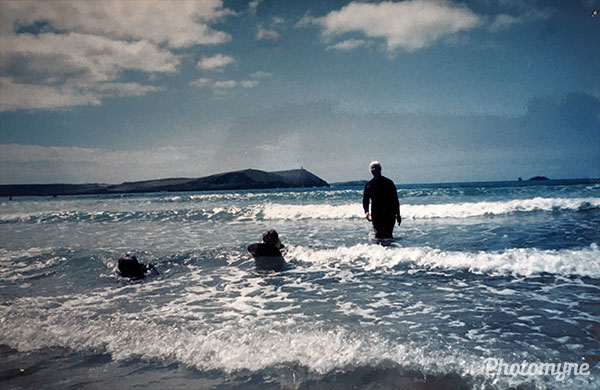 MEJ learning to surf. Wadebridge, UK 1994