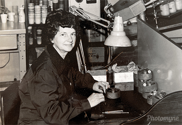 Mom working as a diamond setter either at Boyles or Wesdrill. CA, USA 1965