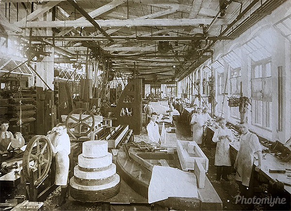 Grandfather at work as pattern maker at Ponds. USA 1900