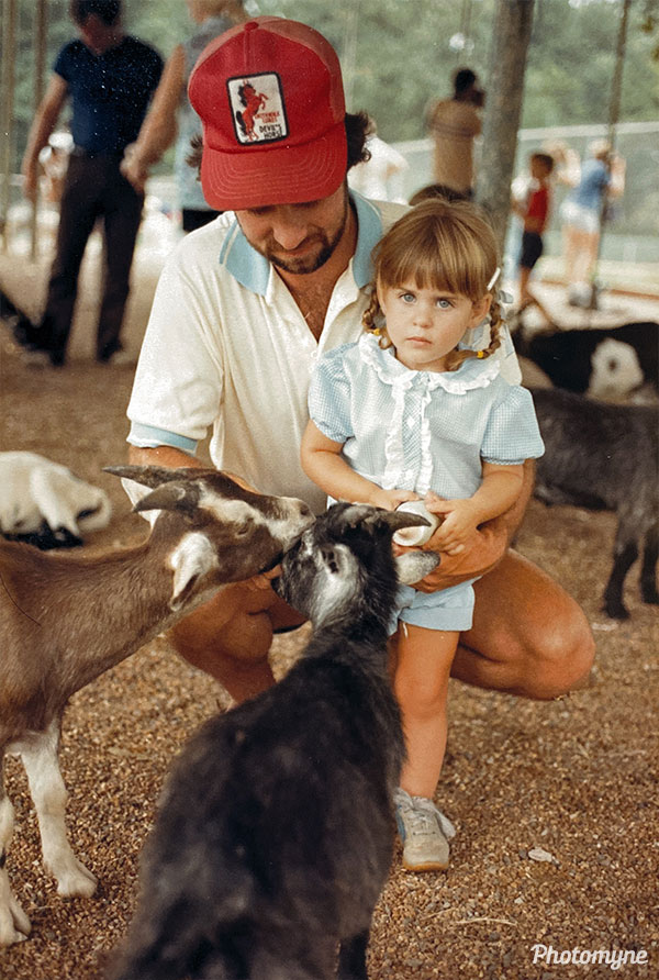 Feeding goats with my dad. USA 1983