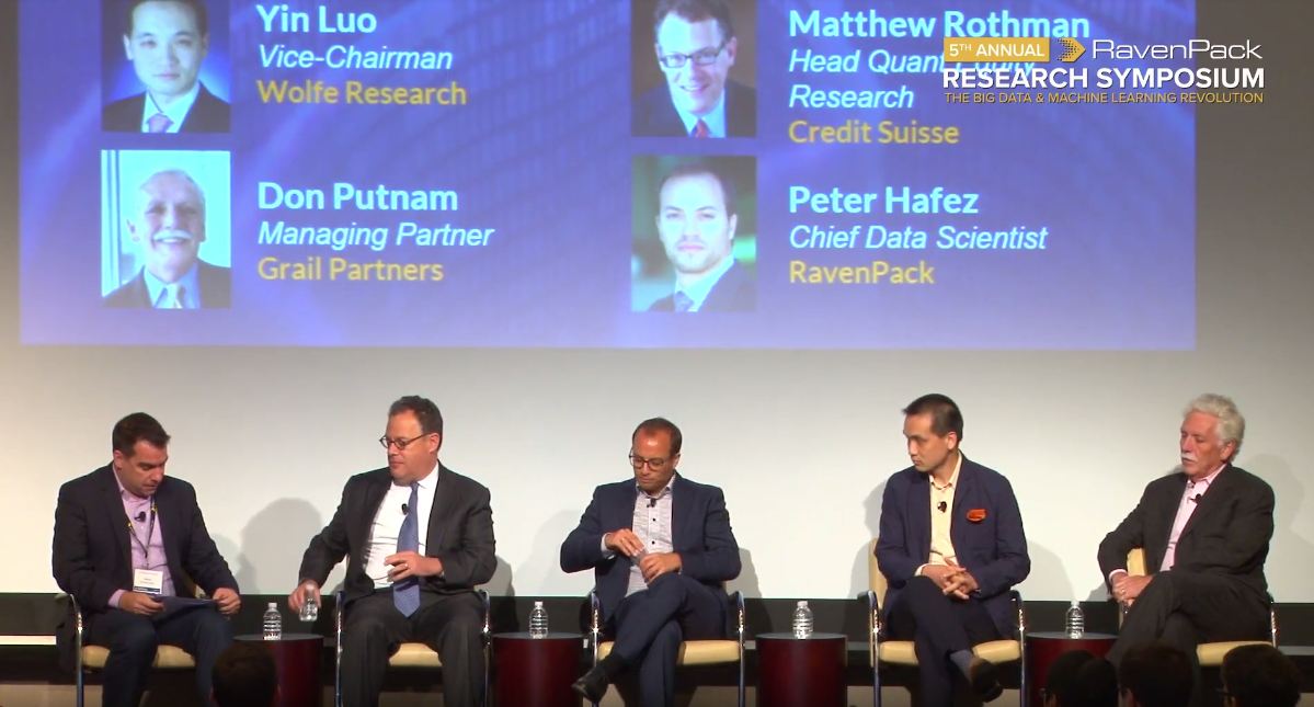 Marko Kolanovic, Matthew Rothman, Peter Hafez, Yin Luo, Don Putnam on alternative data panel