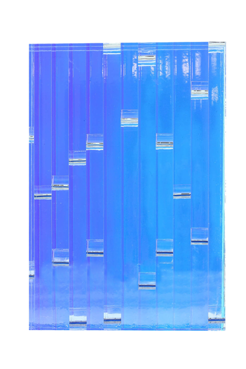 <b>Blue (center):</b> Lumina 1-1/4'' thick; 3/8'' grain; LPD: high; clear-clear-zari dusk-blue 2525