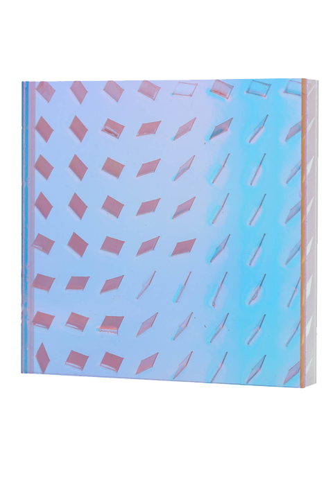 <b>Blue & pink (right):</b> Turbulence 1/2'' thick; quarter scale; frosted-clear-zari dawn-red 2975