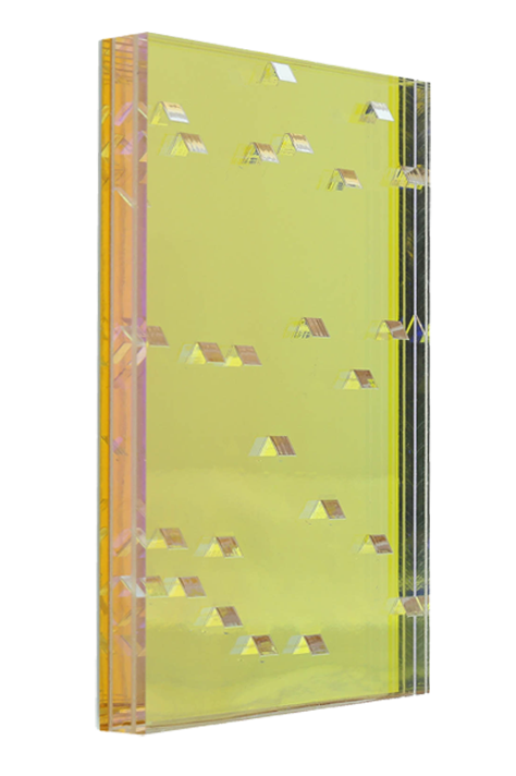 <b>Yellow (left):</b> Spark 5/8'' thick; LPD: high; clear-clear-zari dawn-yellow 2700 mirror-white protect