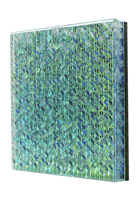 <b>Blue/green:</b> S Thatch 80% 3/4'' thick; low iron glass-clear-zari dawn-grey glass mirror