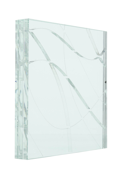 <b>Clear (far left):</b> Chaos; quarter scale; low iron glass-clear-low iron glass