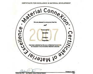 2007 Material Connexion Certificate of Material Excellence
