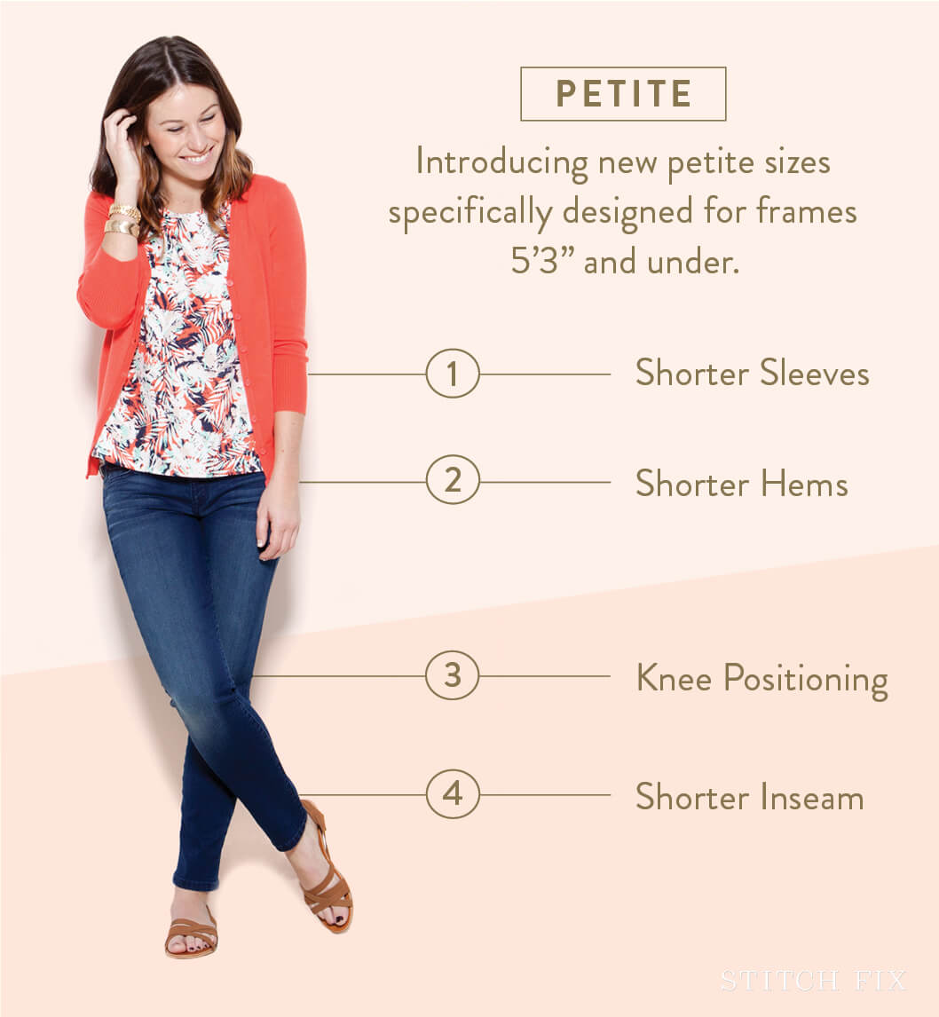US Petite Clothing Size Chart Petite clothing is simply clothing proportioned for women 5'4'' ( cm) and under. Petite clothing has reduced i.e. sleeve and torso length compared to regular sized clothing, to better fit smaller frames.