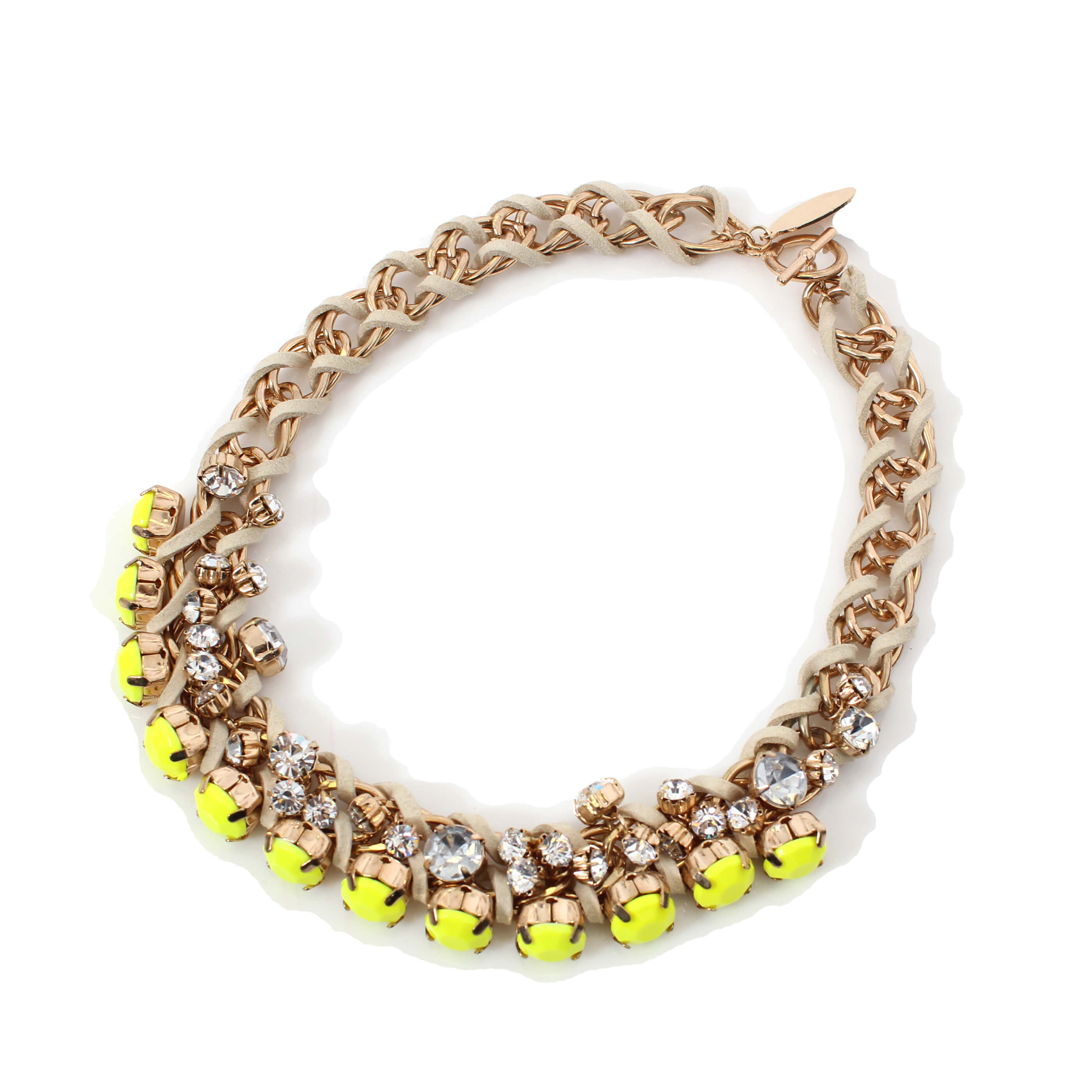 bead chunky asp p mellow yellow necklace vintage