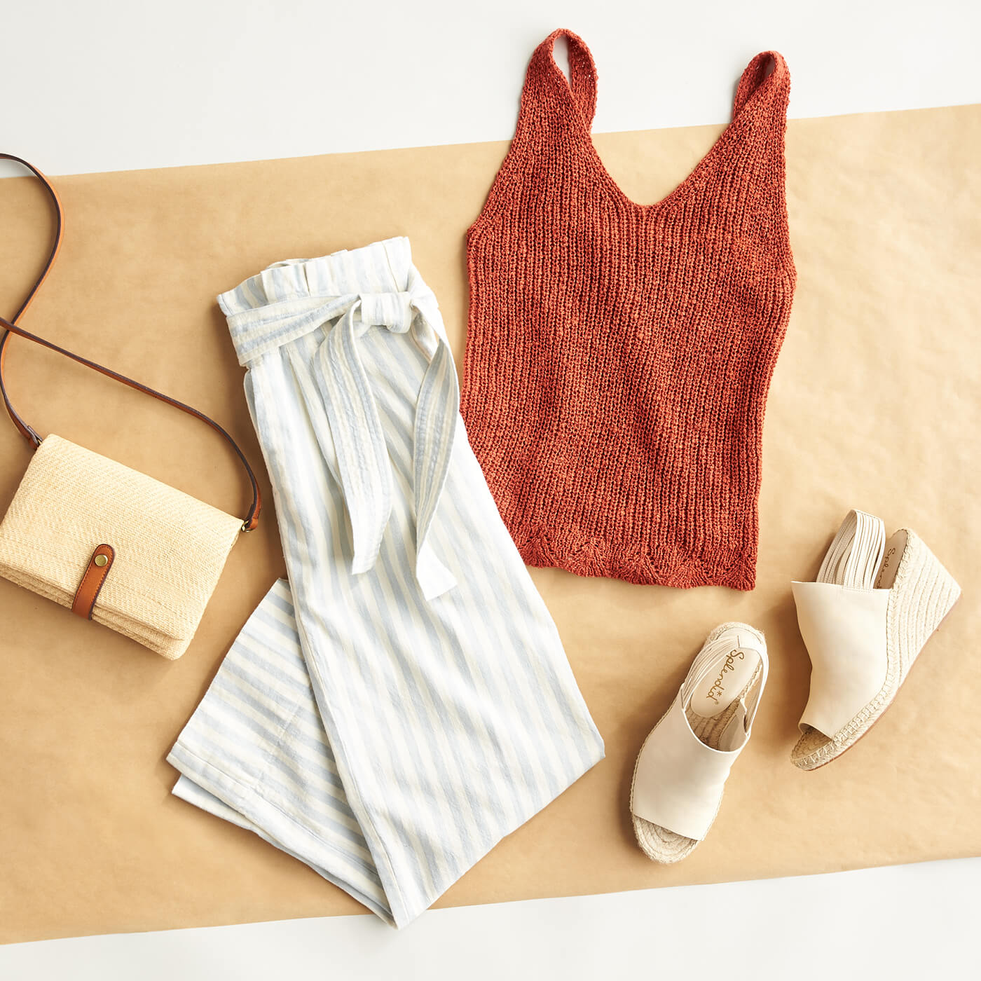 knit tank, white culottes, straw bag