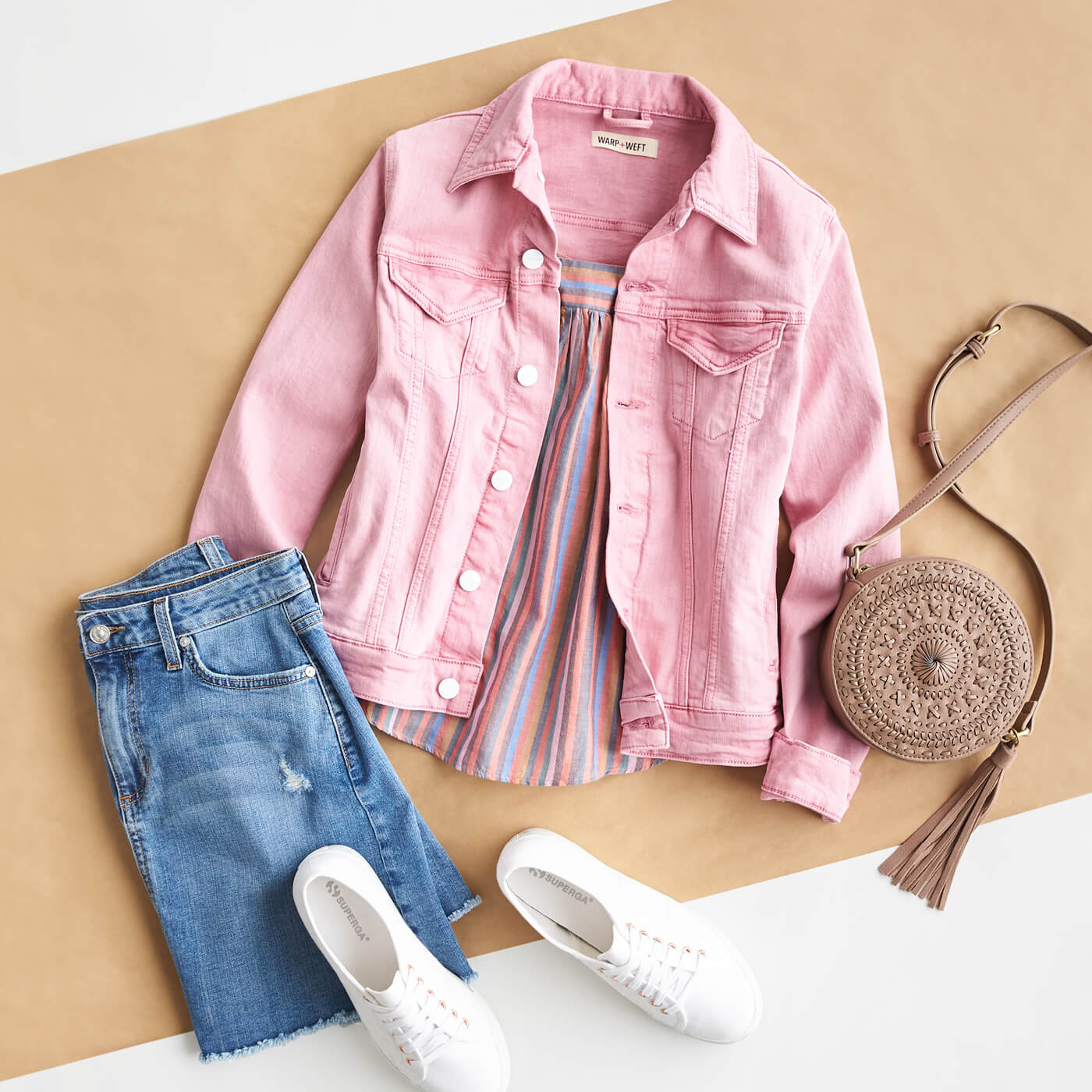 pink jean jacket, denim skirt and white sneakers
