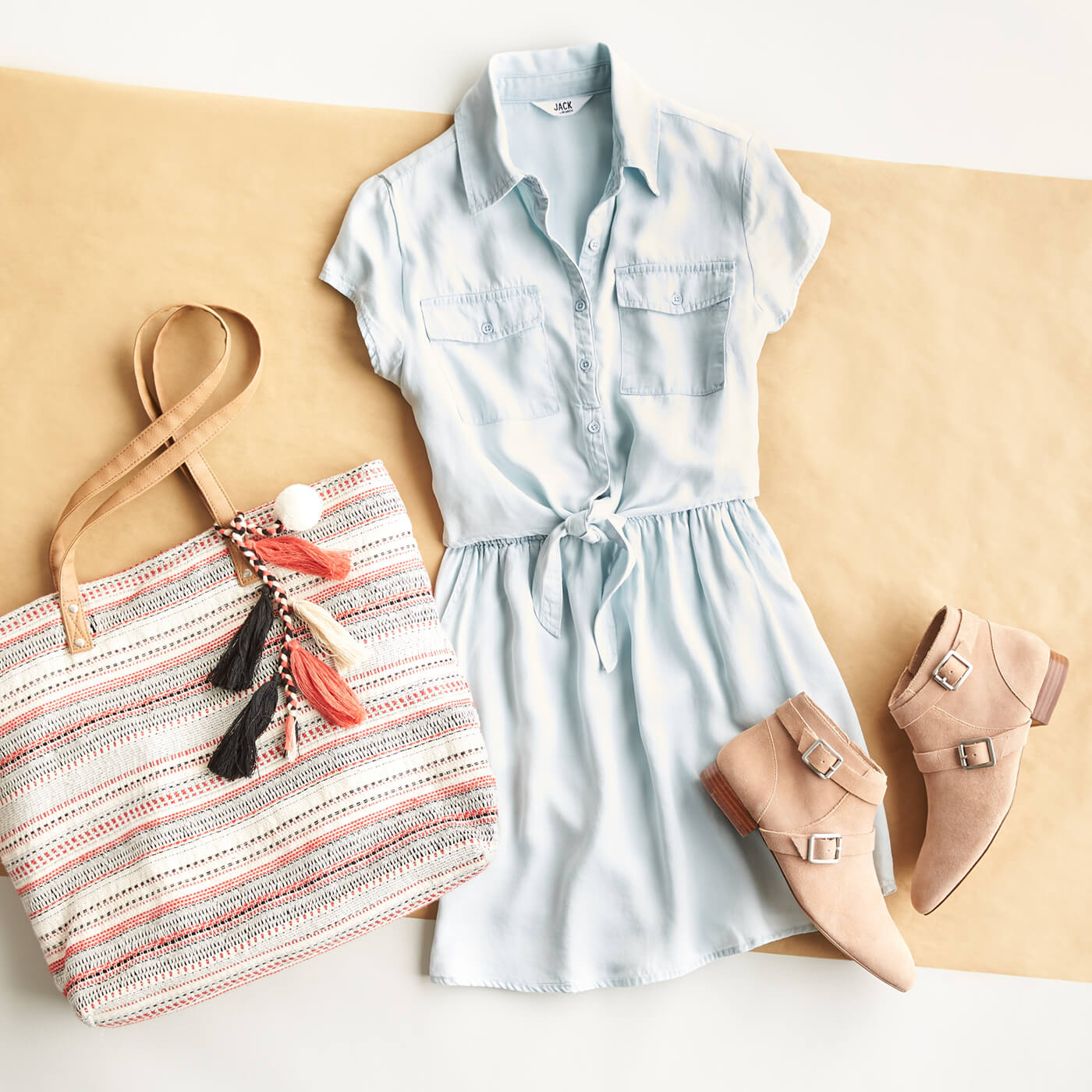 chambray short-sleeve dress, ankle boots, tassel bag