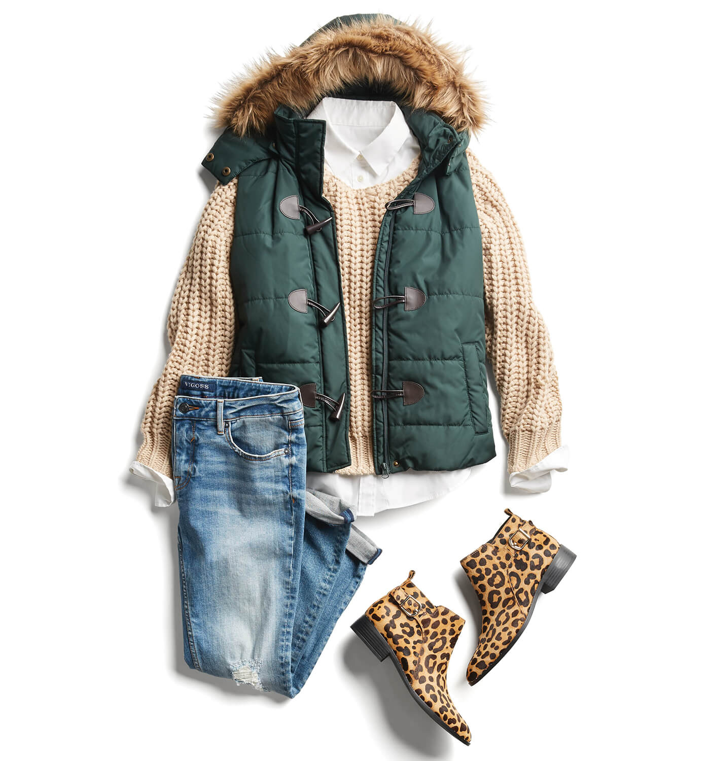 puffer vest with booties