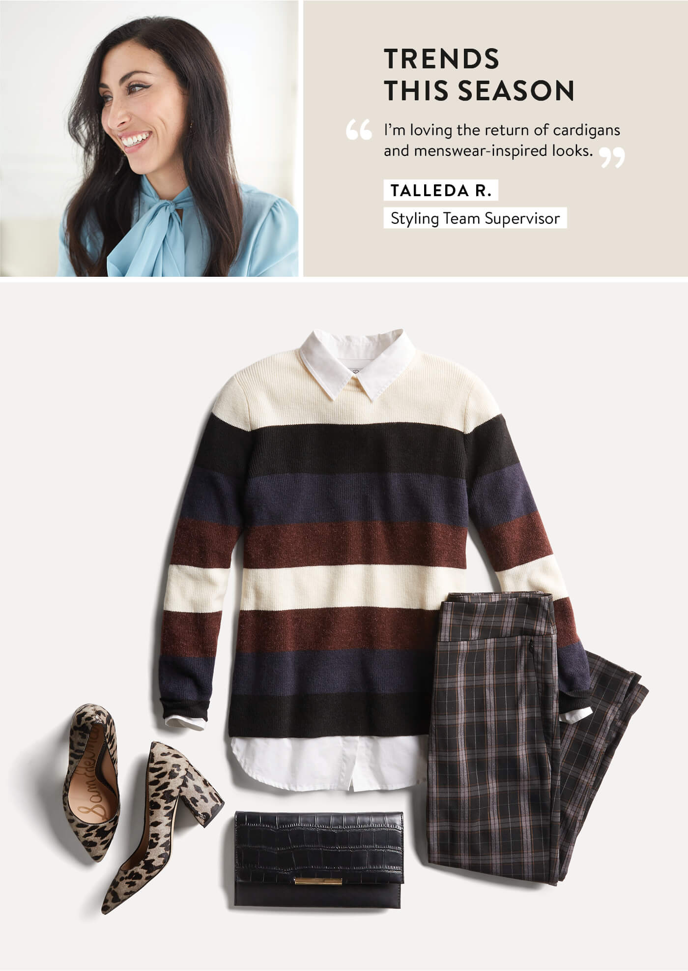 Stitch Fix Stylist, Talleda, striped sweater and plaid pants, leopard print heels