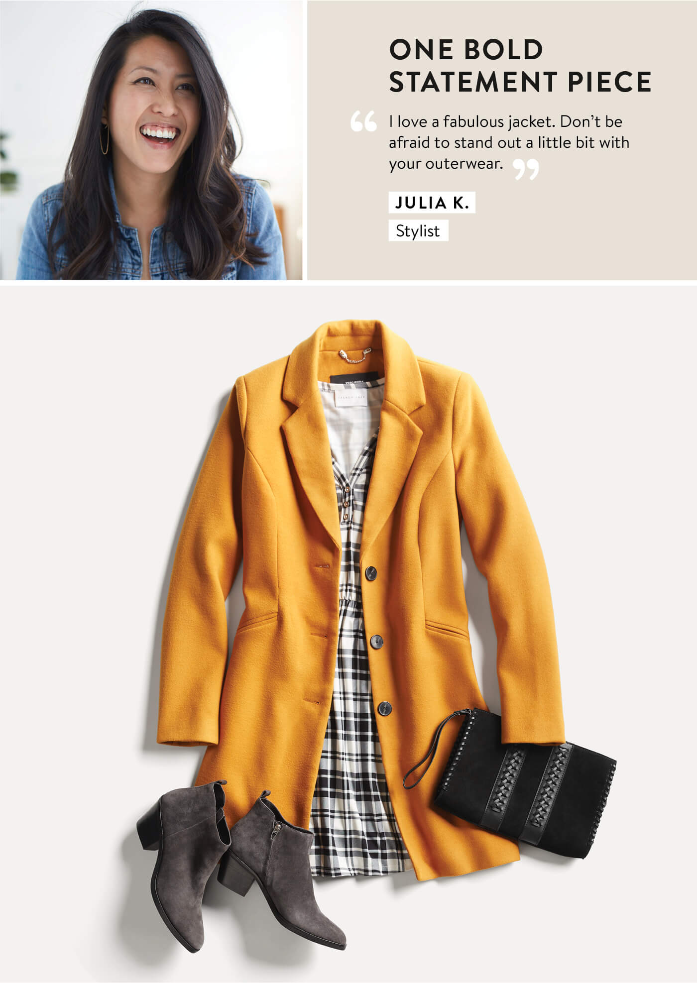 Stitch Fix Stylist, Julia, Yellow coat and plaid dress