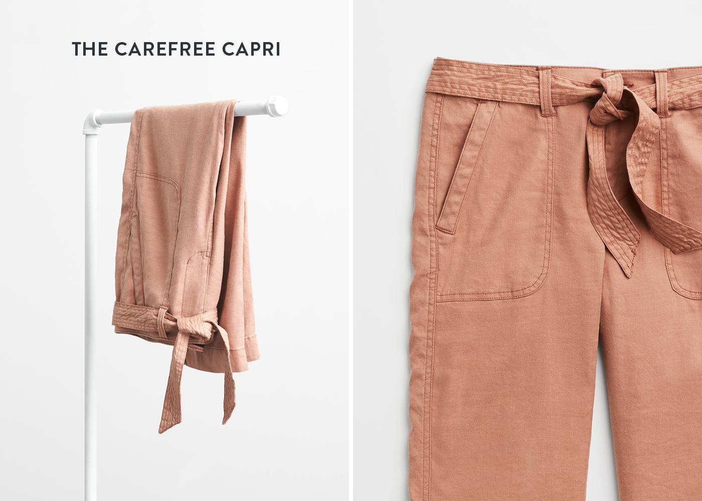 women's tie-waist capri pants