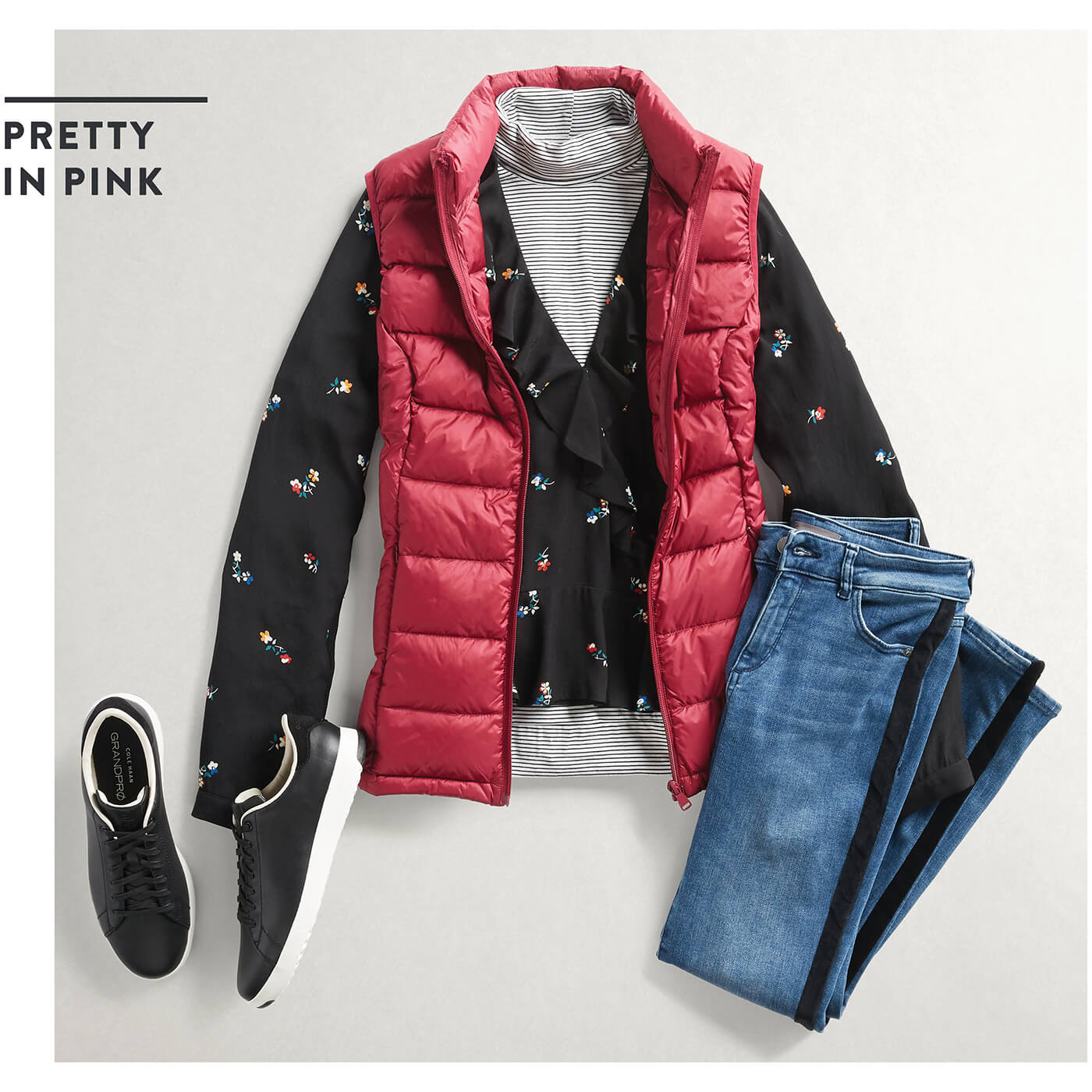 puffer jacket with sweater
