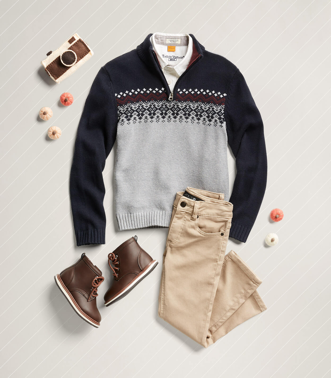 fair isle sweater and khakis